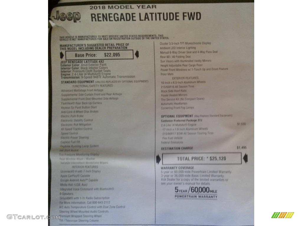 2018 Renegade Latitude - Anvil / Black photo #31