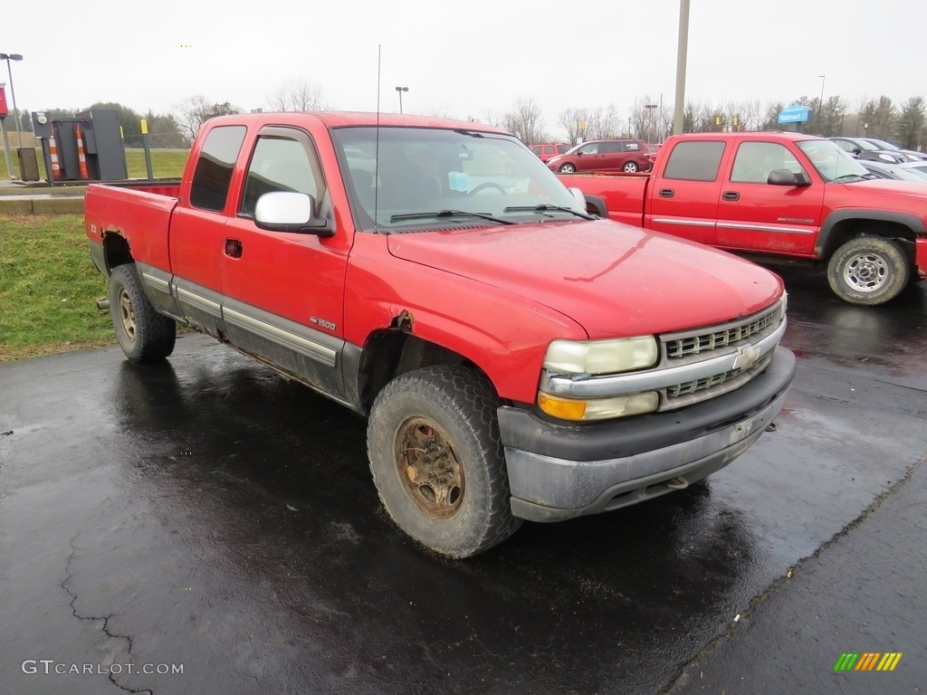 2000 Silverado 1500 LS Extended Cab 4x4 - Victory Red / Graphite photo #4