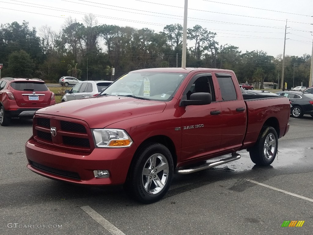 2012 Ram 1500 Express Quad Cab 4x4 - Deep Cherry Red Crystal Pearl / Dark Slate Gray/Medium Graystone photo #1