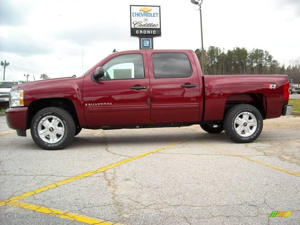 2009 Silverado 1500 LT Z71 Crew Cab 4x4 - Deep Ruby Red Metallic / Light Cashmere photo #1