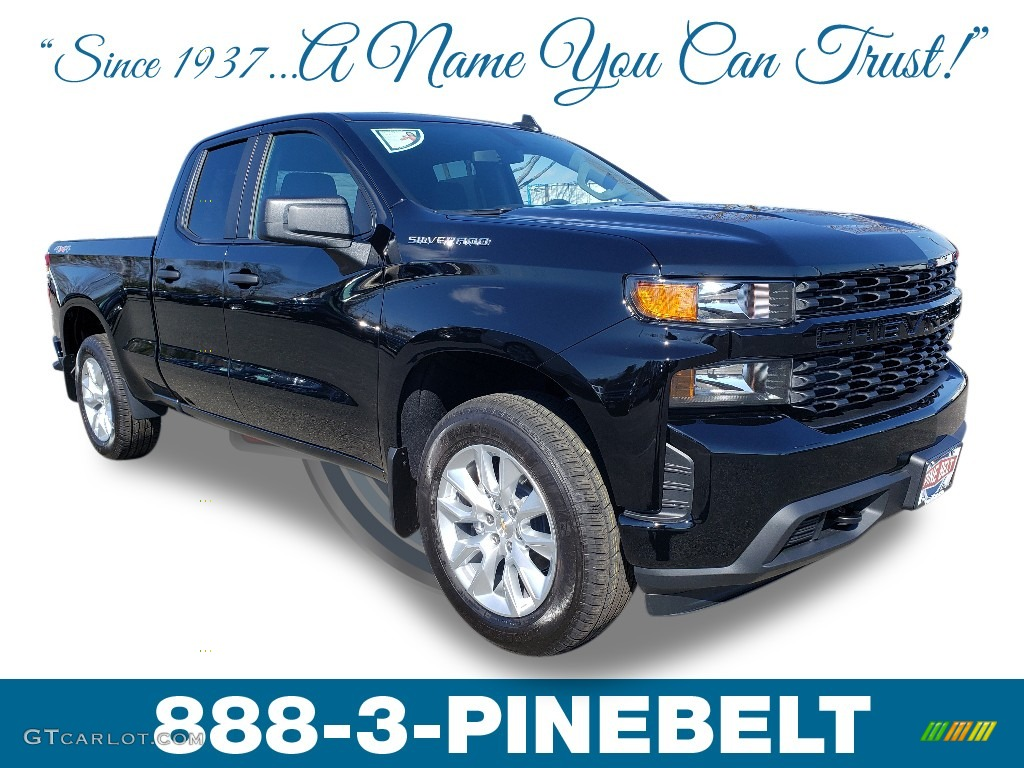 2019 Silverado 1500 Custom Double Cab 4WD - Black / Jet Black photo #1