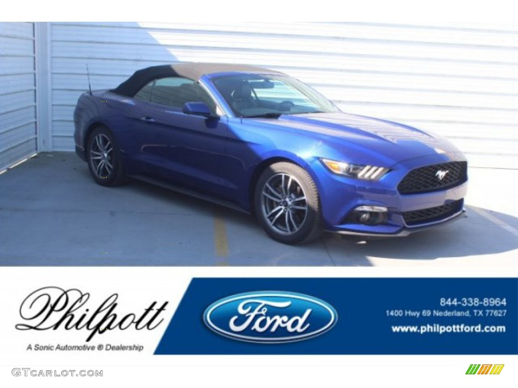 2016 Mustang EcoBoost Premium Convertible - Deep Impact Blue Metallic / Ebony photo #1