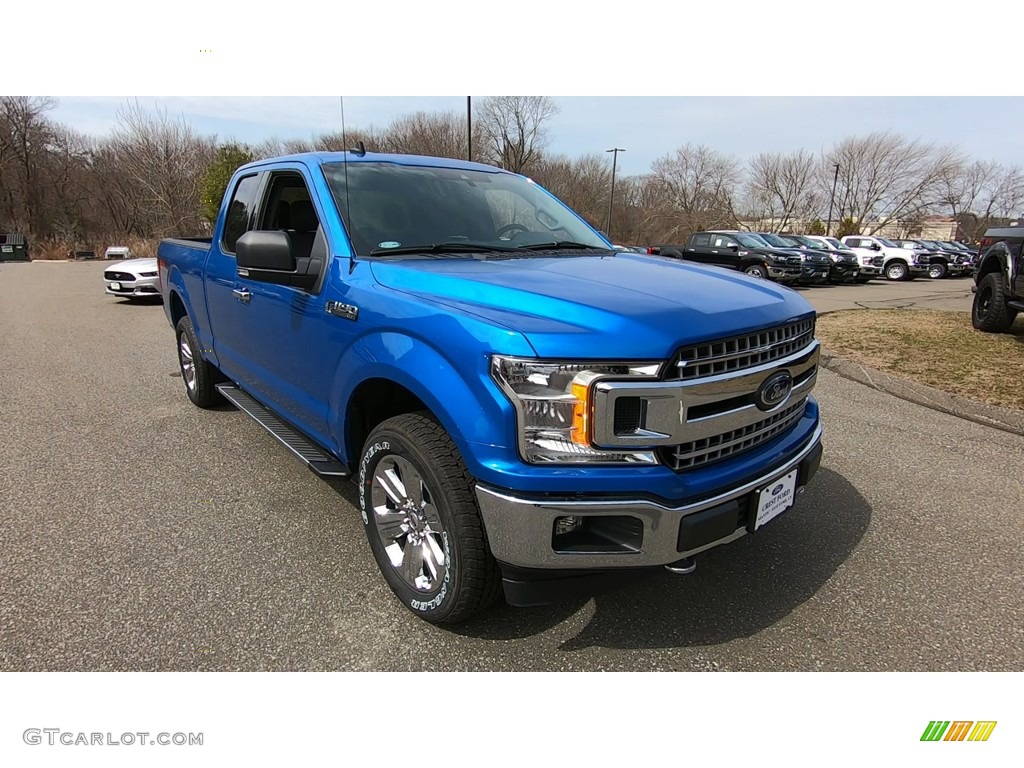 2019 F150 XLT SuperCab 4x4 - Velocity Blue / Earth Gray photo #1