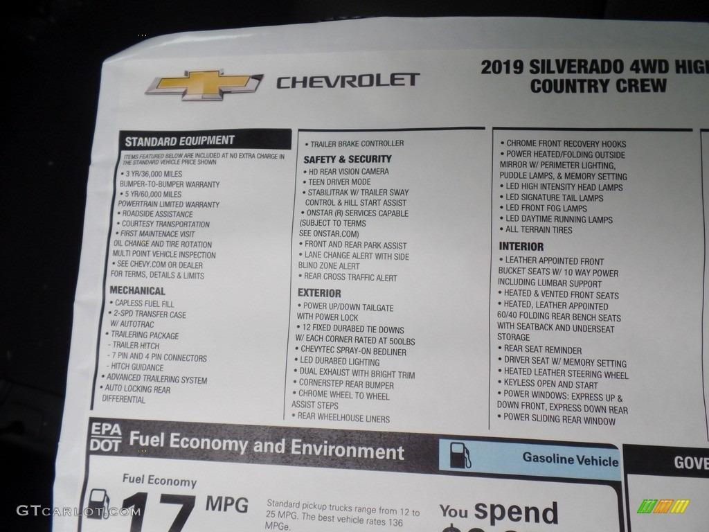 2019 Silverado 1500 High Country Crew Cab 4WD - Black / Jet Black photo #63