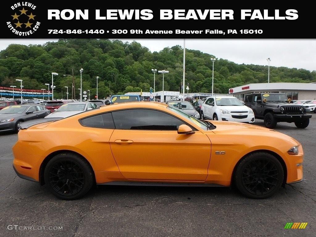 2018 Mustang GT Premium Fastback - Orange Fury / Ebony photo #1