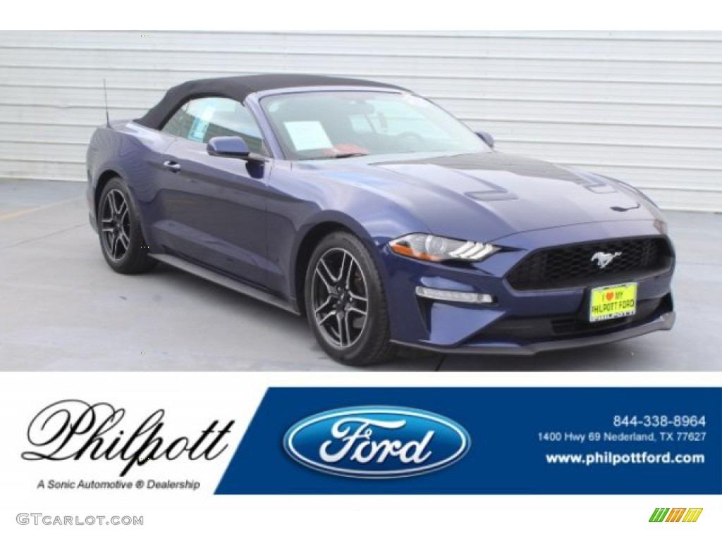 2018 Mustang EcoBoost Premium Convertible - Kona Blue / Ebony photo #1