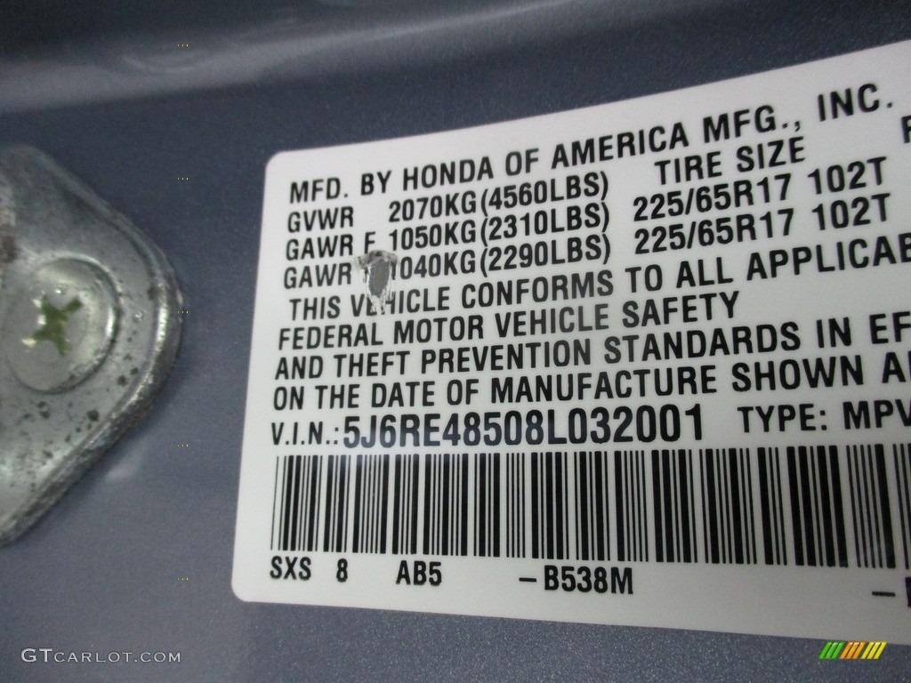 2008 CR-V EX 4WD - Glacier Blue Metallic / Gray photo #19