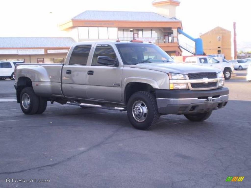 2003 Silverado 3500 LS Crew Cab Dually - Light Pewter Metallic / Dark Charcoal photo #1