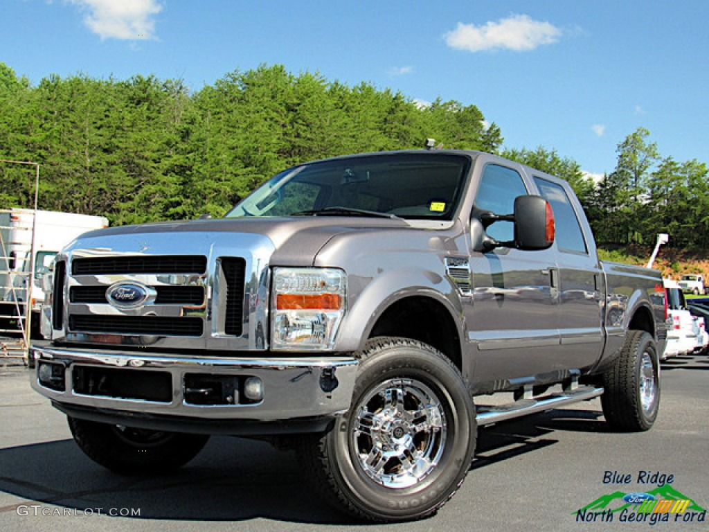 2008 F250 Super Duty Lariat Crew Cab 4x4 - Dark Shadow Grey Metallic / Medium Stone photo #1