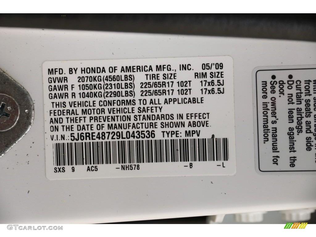 2009 CR-V EX-L 4WD - Taffeta White / Gray photo #19