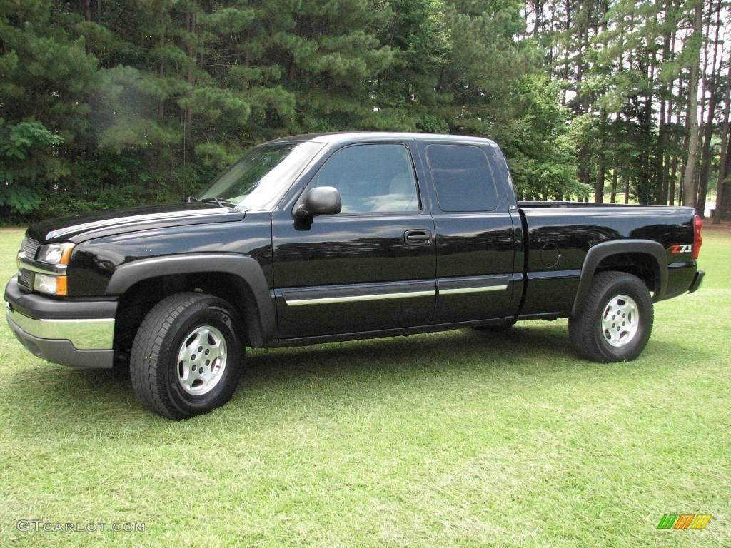 2003 black chevrolet silverado 1500 ls extended cab 4x4 13613083 car color. Black Bedroom Furniture Sets. Home Design Ideas