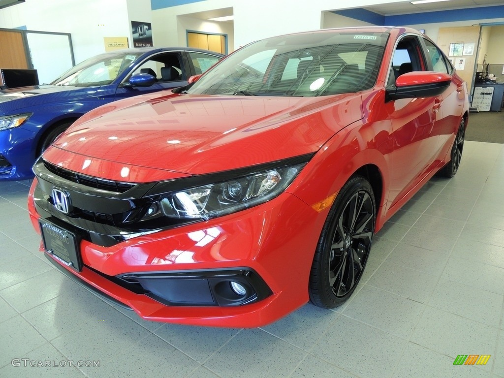 2020 Rallye Red Honda Civic Sport Sedan 137071144 Gtcarlot Com Car Color Galleries