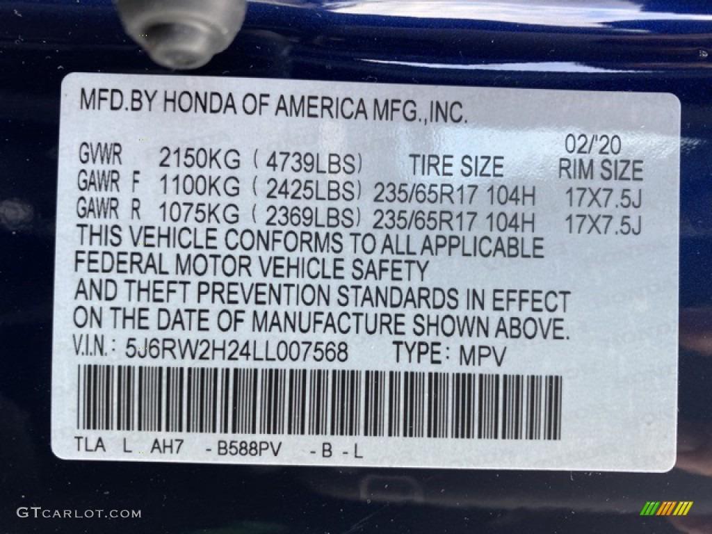 2020 CR-V LX AWD - Obsidian Blue Pearl / Gray photo #9
