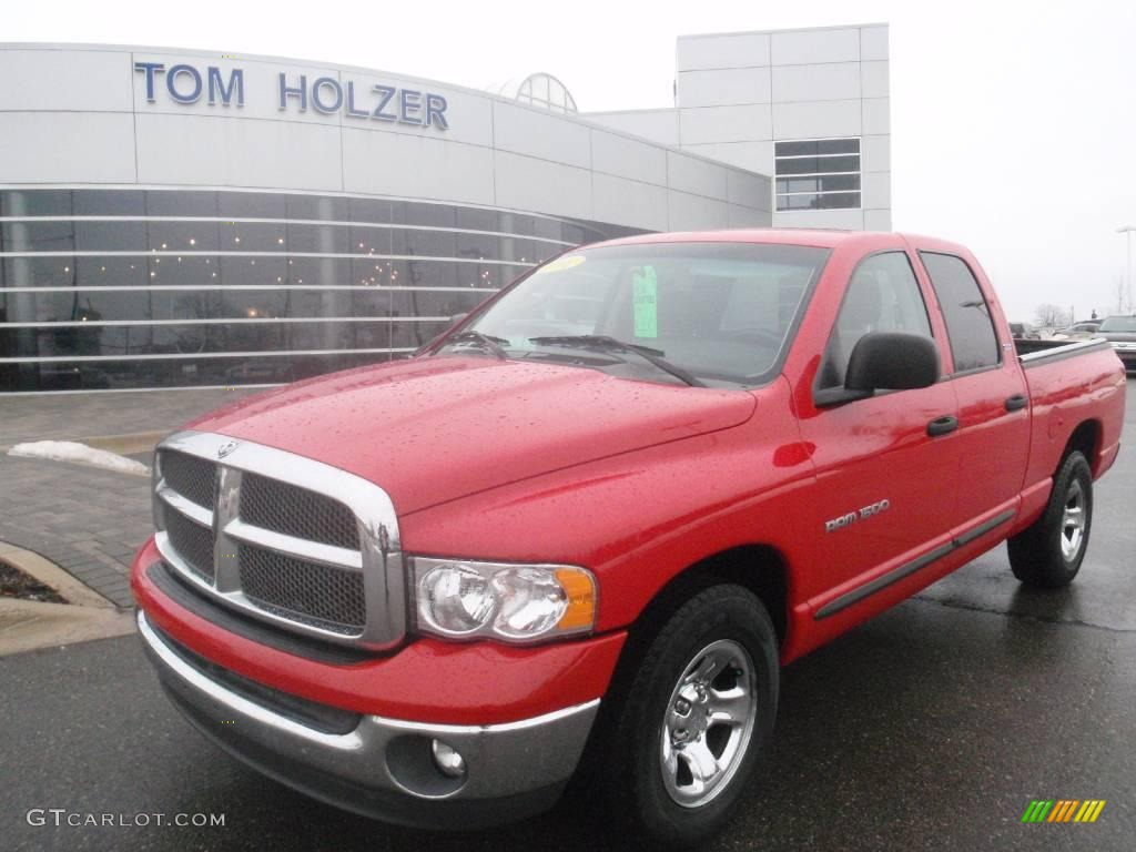 2002 Ram 1500 ST Quad Cab - Flame Red / Taupe photo #1
