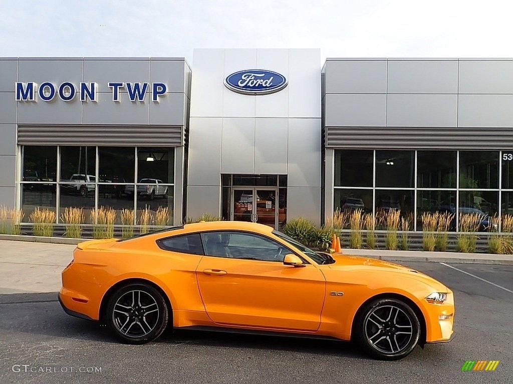 2019 Mustang GT Premium Fastback - Orange Fury / Ebony photo #1