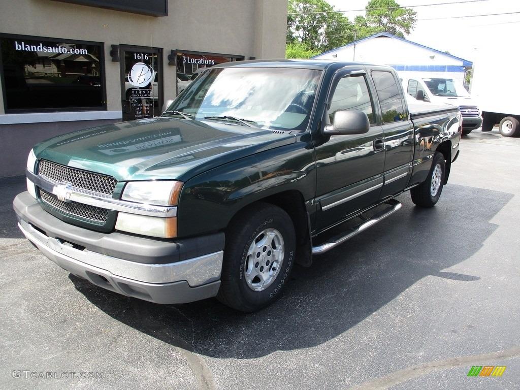 2003 Silverado 1500 LS Extended Cab - Dark Green Metallic / Medium Gray photo #2