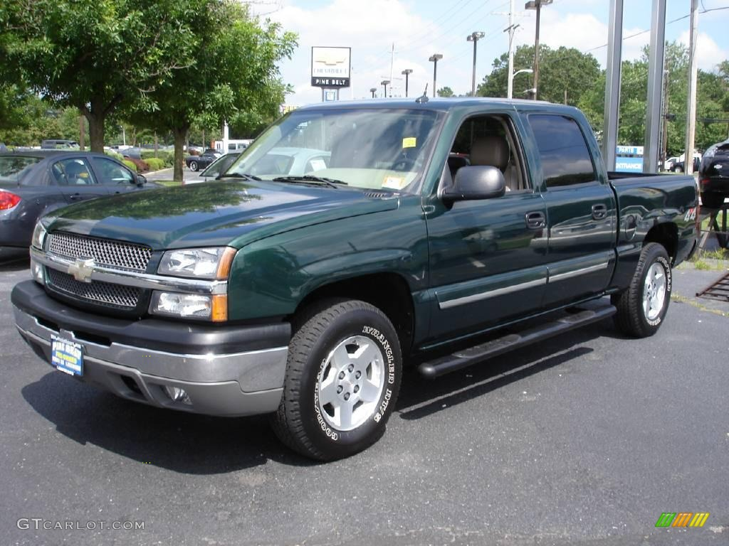 2004 dark green metallic chevrolet silverado 1500 lt crew cab 4x4 13875306 car. Black Bedroom Furniture Sets. Home Design Ideas