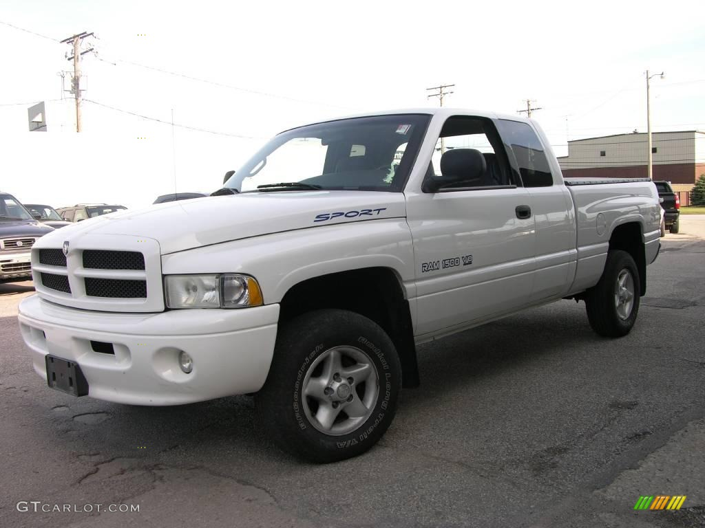 1999 bright white dodge ram 1500 sport extended cab 4x4 14161722 car color. Black Bedroom Furniture Sets. Home Design Ideas