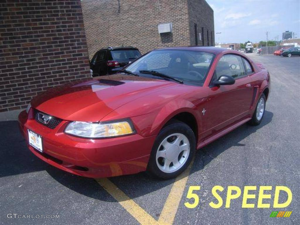2000 Mustang V6 Coupe - Laser Red Metallic / Medium Parchment photo #1