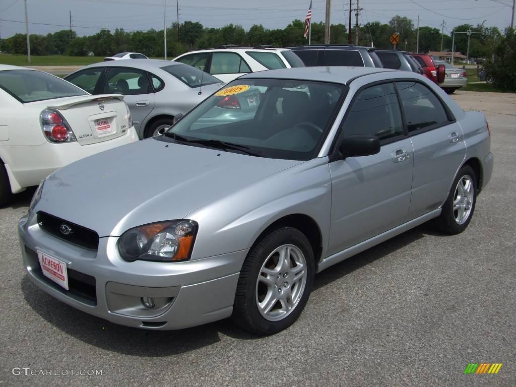 2005 platinum silver metallic subaru impreza 2.5 rs sedan