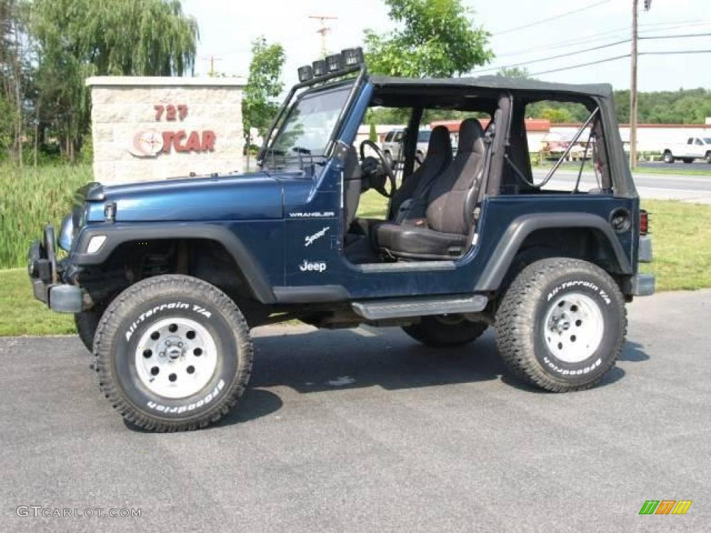 2001 patriot blue pearl jeep wrangler sport 4x4 15127086 car color galleries. Black Bedroom Furniture Sets. Home Design Ideas