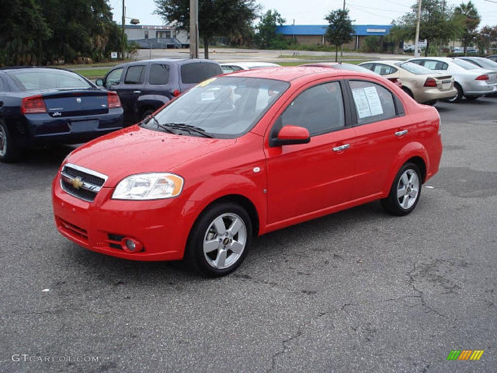 2008 Victory Red Chevrolet Aveo LT Sedan 1529253 Photo 2