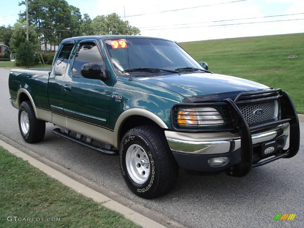 1999 f150 lariat extended cab 4x4 woodland green metallic medium prairie tan photo