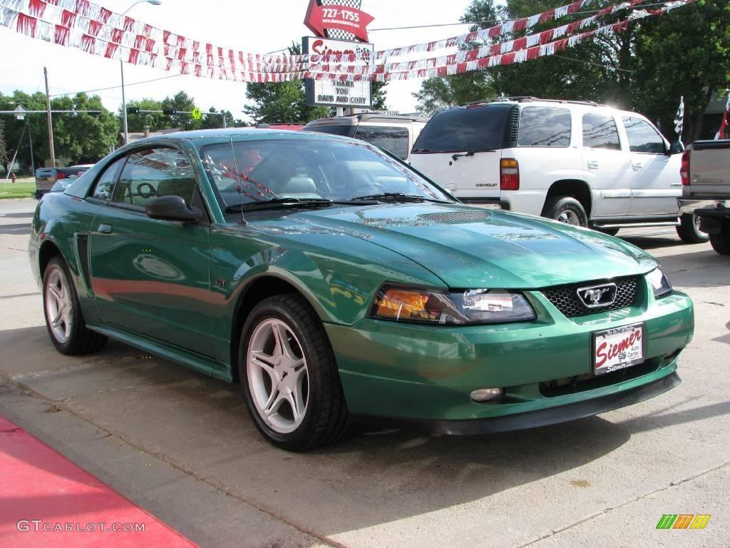 2000 mustang gt coupe electric green metallic medium graphite photo 4