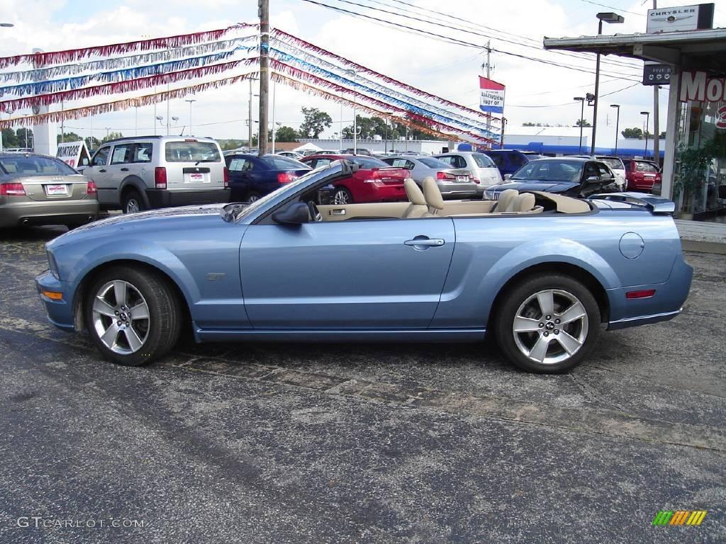 2006 Mustang GT Premium Convertible - Windveil Blue Metallic / Light Parchment photo #2