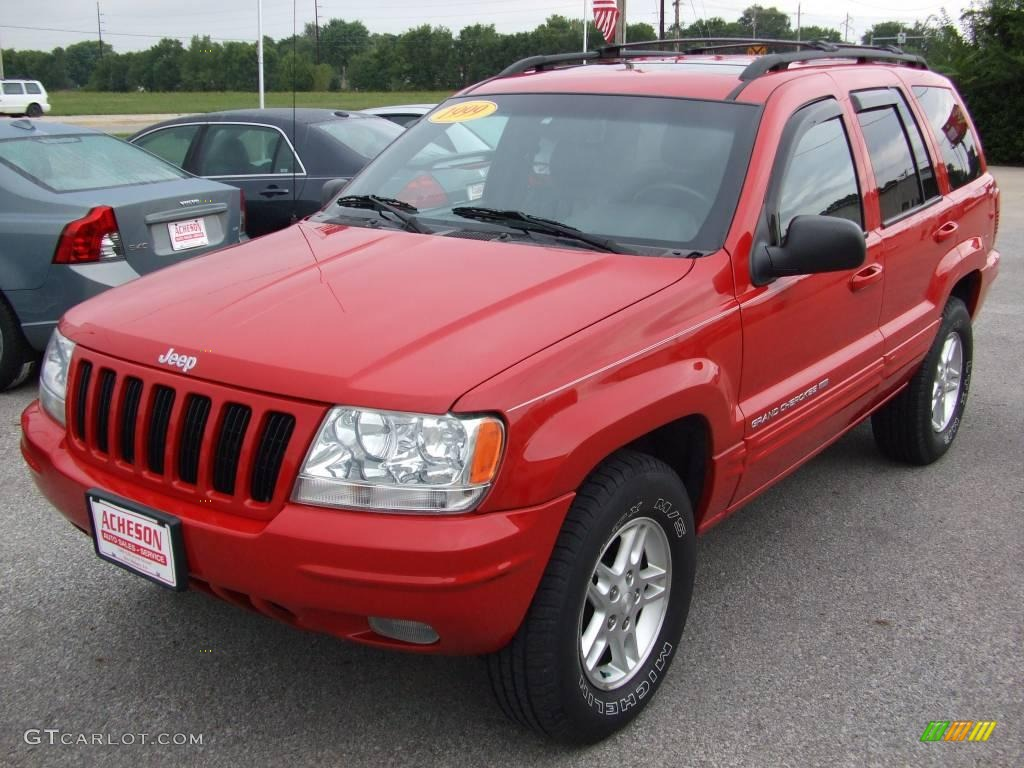 1999 flame red jeep grand cherokee limited 4x4 #16391660