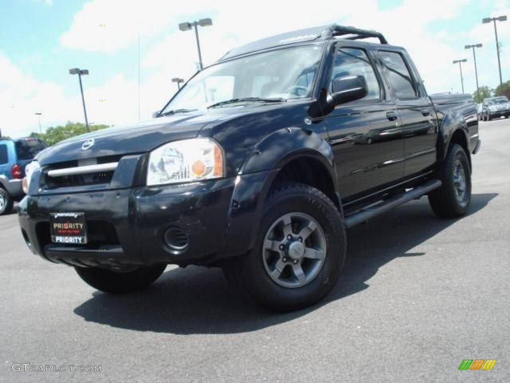 2003 super black nissan frontier xe v6 crew cab 16449726. Black Bedroom Furniture Sets. Home Design Ideas