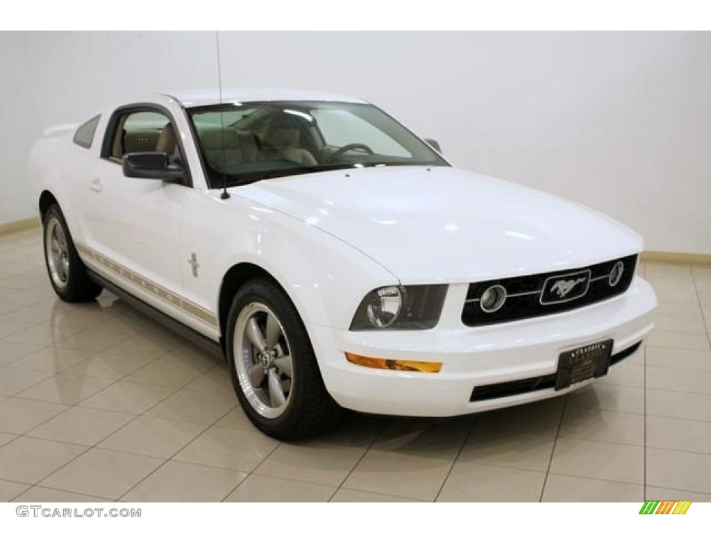 2006 Mustang V6 Premium Coupe - Performance White / Light Parchment photo #1