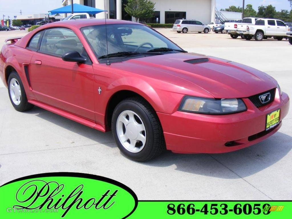 2001 Mustang V6 Coupe - Laser Red Metallic / Medium Parchment photo #1