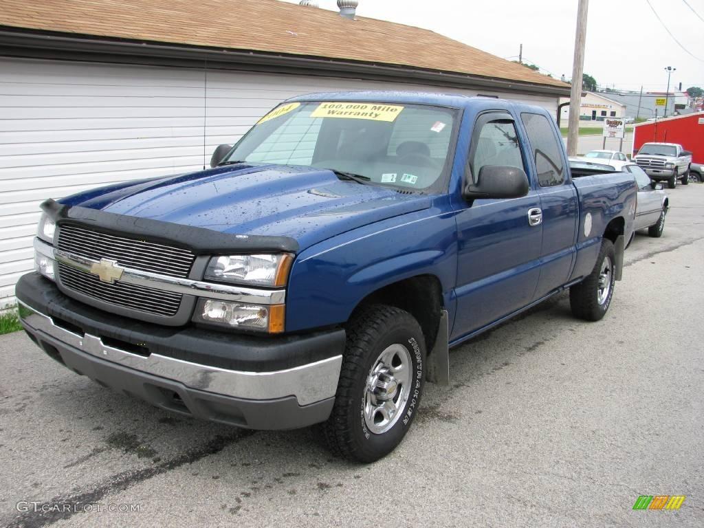 2004 silverado 1500 work truck extended cab 4x4 arrival blue metallic dark charcoal photo