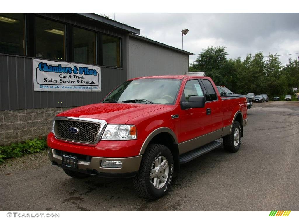2004 bright red ford f150 lariat supercab 4x4 16841645 car color galleries. Black Bedroom Furniture Sets. Home Design Ideas