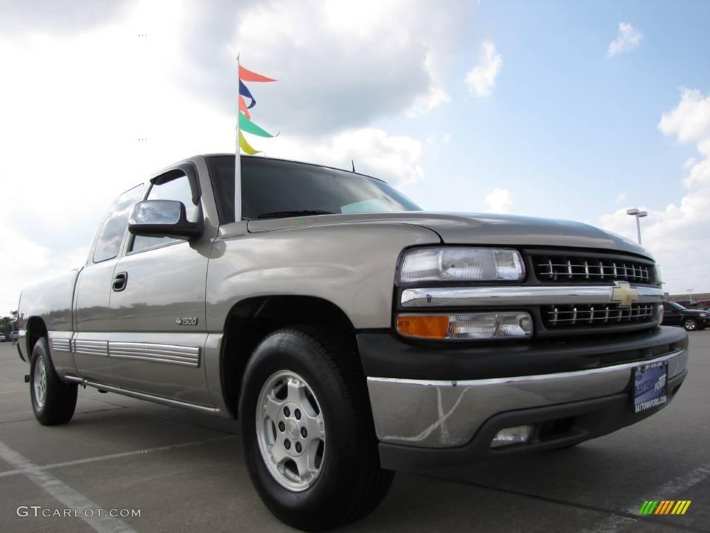 2002 Silverado 1500 LT Extended Cab - Light Pewter Metallic / Tan photo #1