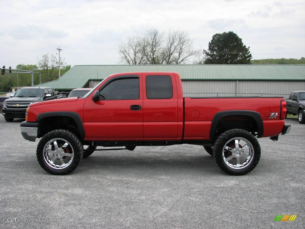2005 victory red chevrolet silverado 1500 z71 extended cab 4x4 17047185 car. Black Bedroom Furniture Sets. Home Design Ideas
