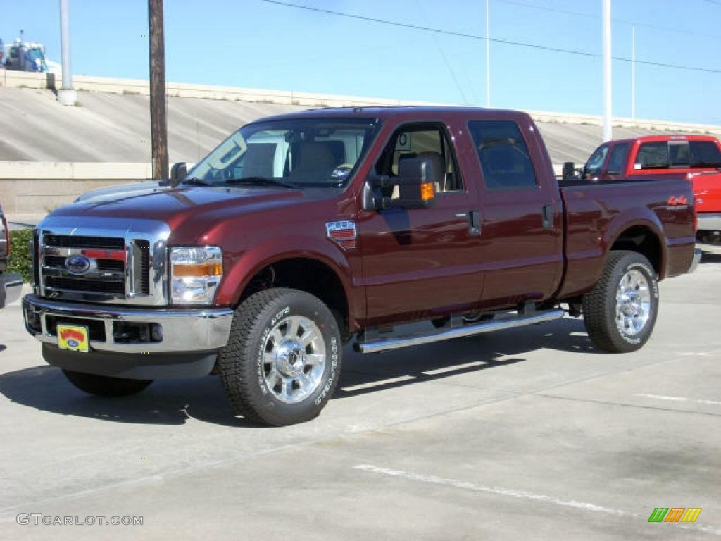 2009 royal red metallic ford f250 super duty lariat crew cab 4x4 1700571 car. Black Bedroom Furniture Sets. Home Design Ideas