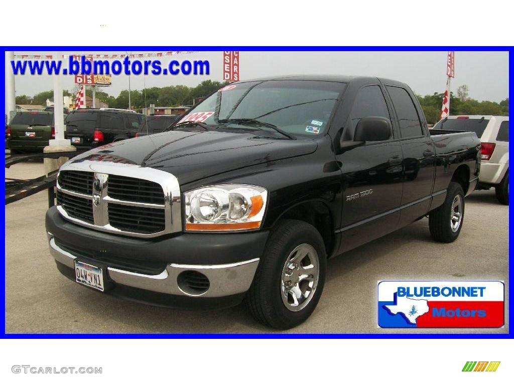 2006 Ram 1500 ST Quad Cab - Black / Medium Slate Gray photo #1