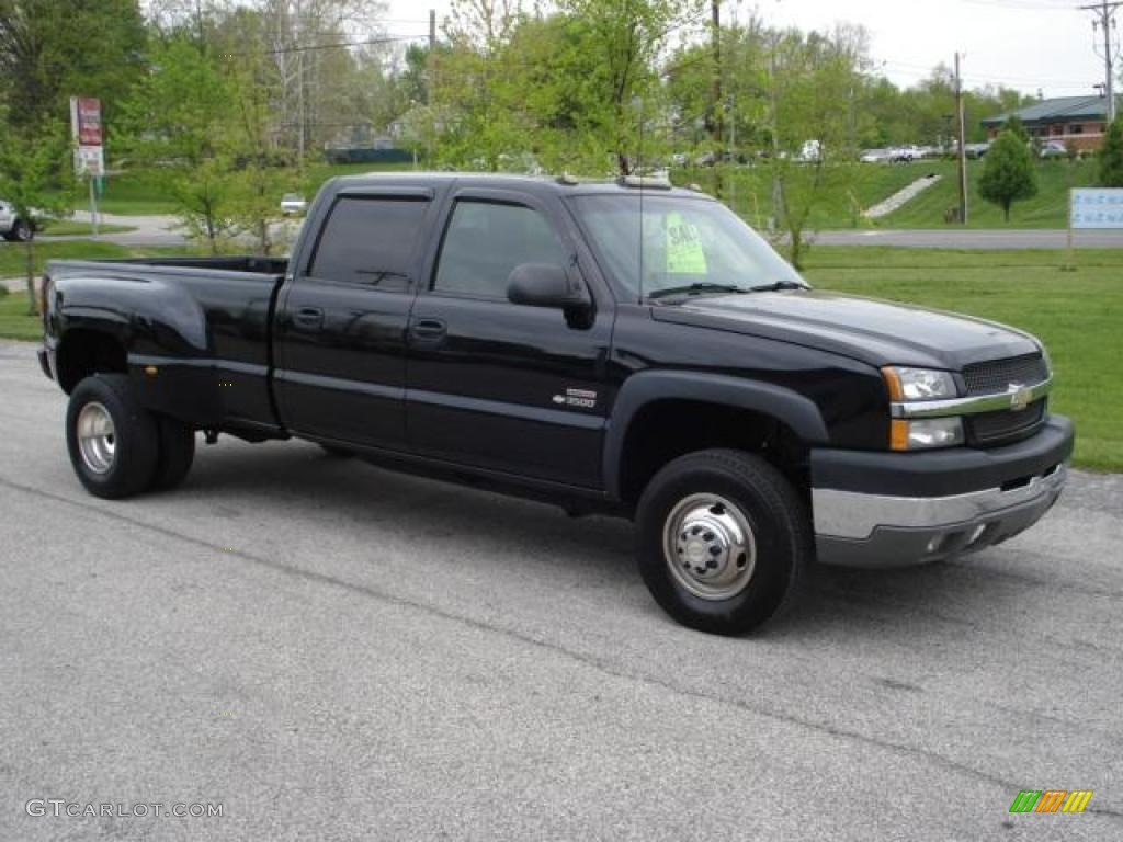 2003 silverado 3500 ls crew cab 4x4 dually black dark charcoal photo 1