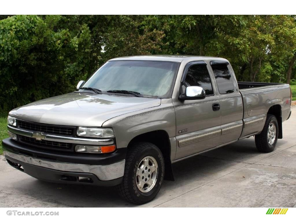 2000 Silverado 1500 LS Extended Cab 4x4 - Light Pewter Metallic / Medium Gray photo #1