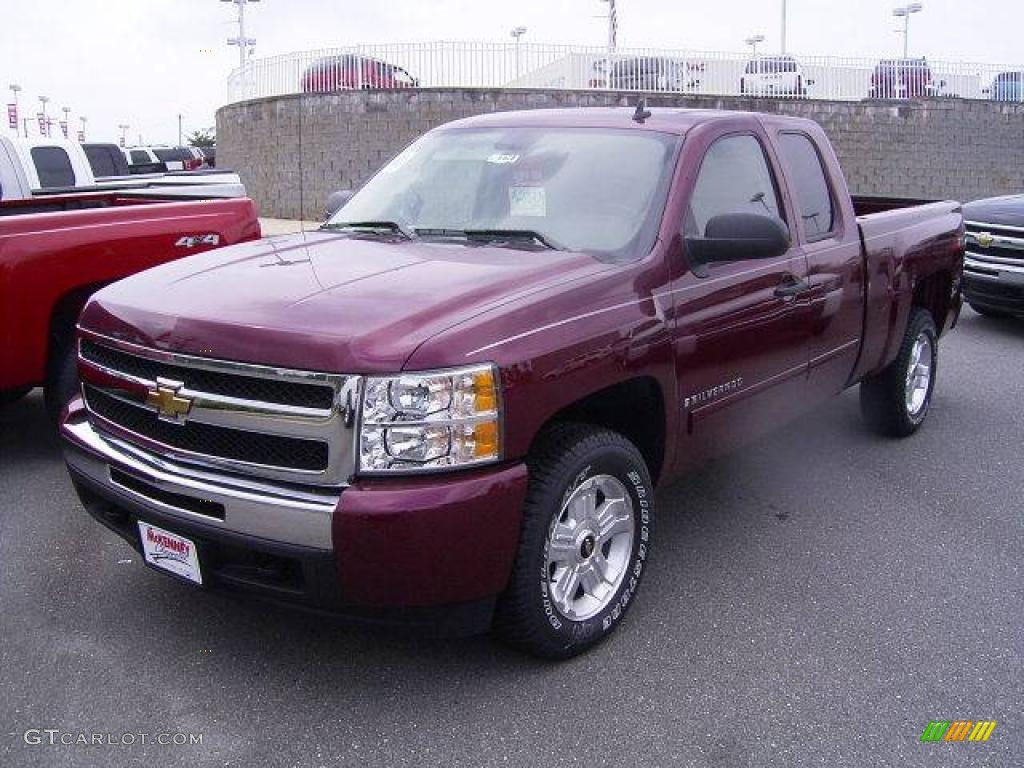 2009 Silverado 1500 LT Extended Cab - Deep Ruby Red Metallic / Light Titanium photo #1