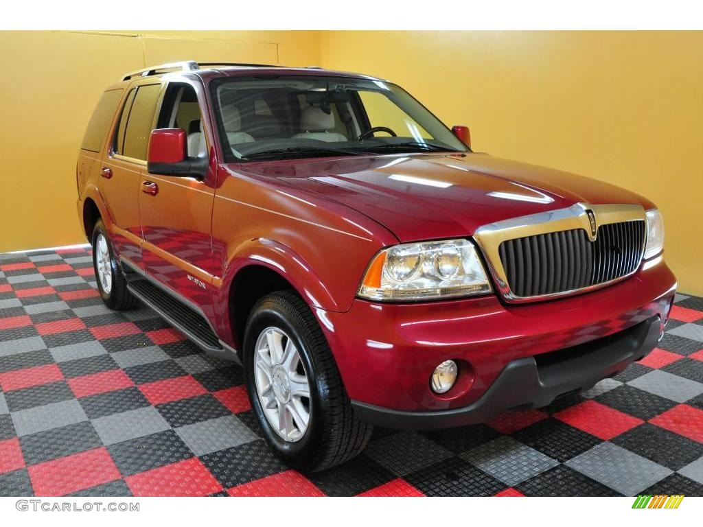 2004 vivid red metallic lincoln aviator luxury awd 18574641 car color galleries. Black Bedroom Furniture Sets. Home Design Ideas