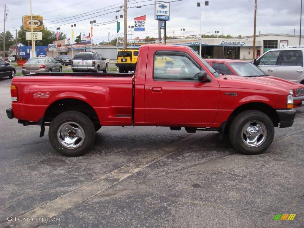 1998 bright red ford ranger xlt regular cab 4x4 18797841 car color galleries. Black Bedroom Furniture Sets. Home Design Ideas