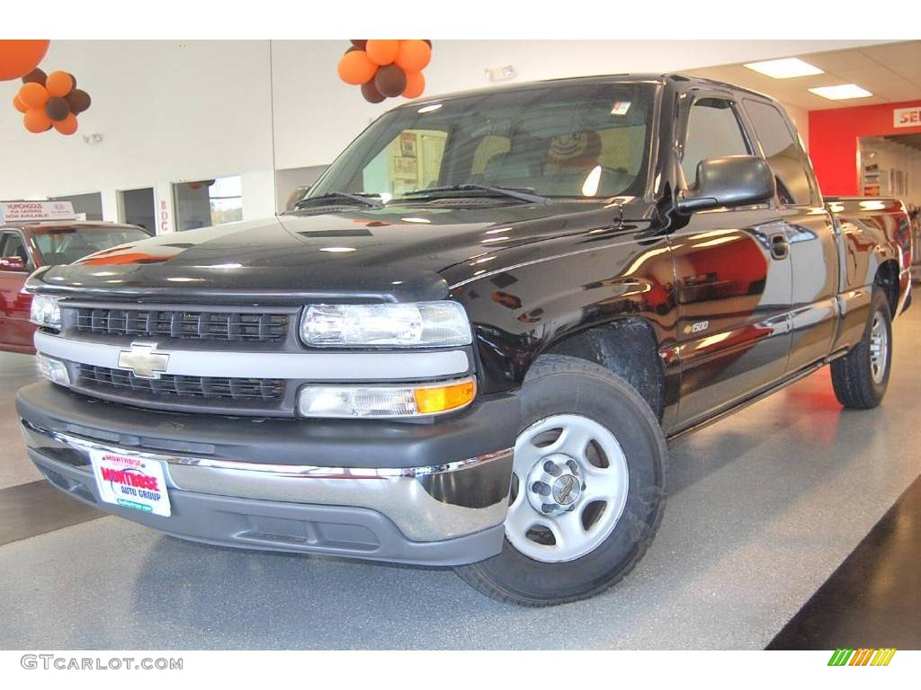 2002 Silverado 1500 LS Extended Cab - Onyx Black / Graphite Gray photo #1