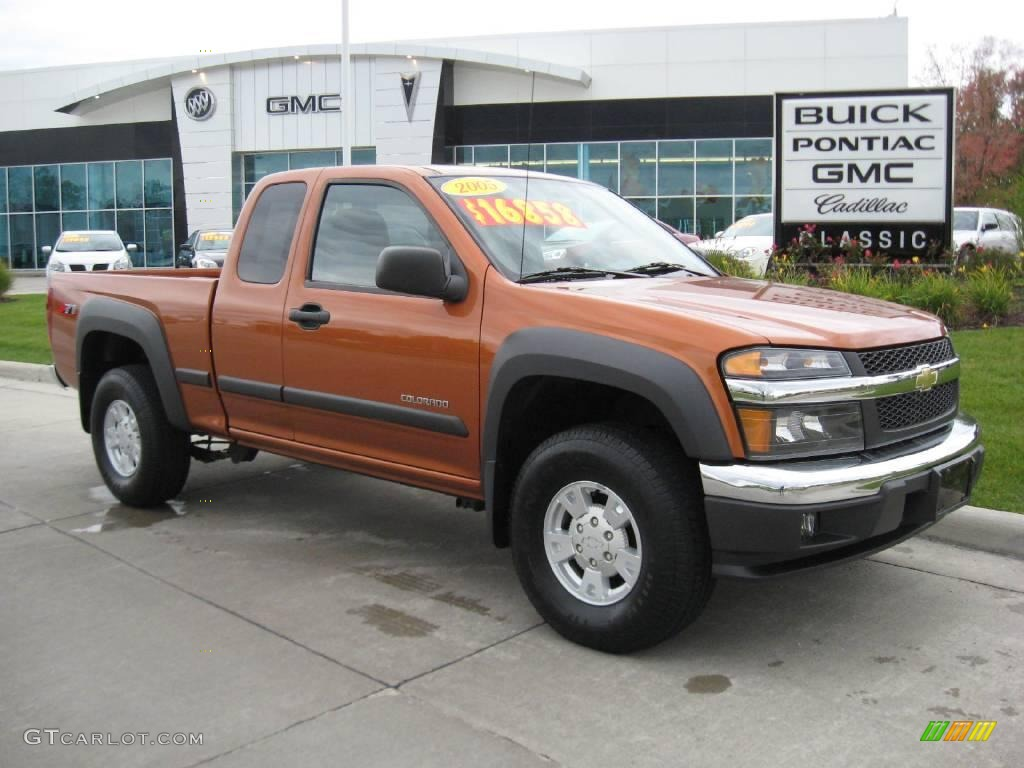 2005 sunburst orange metallic chevrolet colorado ls extended cab