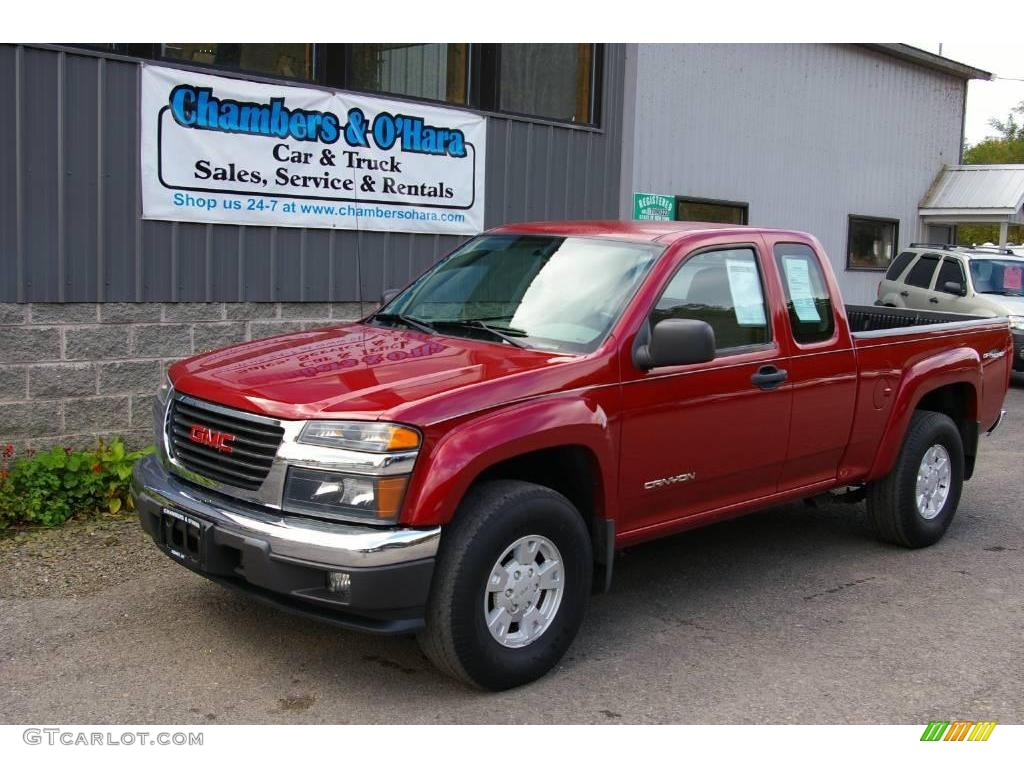 2005 cherry red metallic gmc canyon sle extended cab 4x4. Black Bedroom Furniture Sets. Home Design Ideas