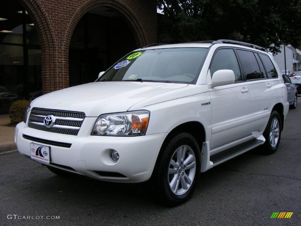 2007 super white toyota highlander hybrid limited 4wd 19648745 car color galleries. Black Bedroom Furniture Sets. Home Design Ideas