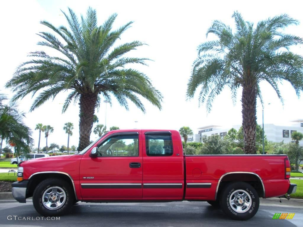2000 Silverado 1500 LS Extended Cab - Victory Red / Graphite photo #1