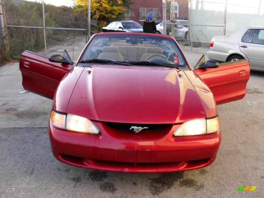 All Types 1996 mustang : 1996 Laser Red Metallic Ford Mustang V6 Convertible #20516663 ...